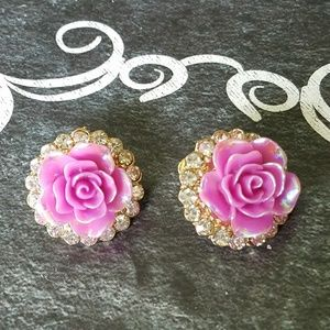 Purple flower earrings with crystals